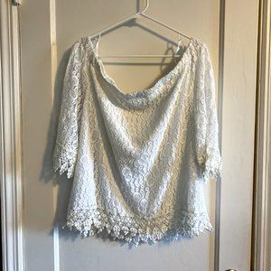 New York & Company Off-the-Shoulder Lace Top XL